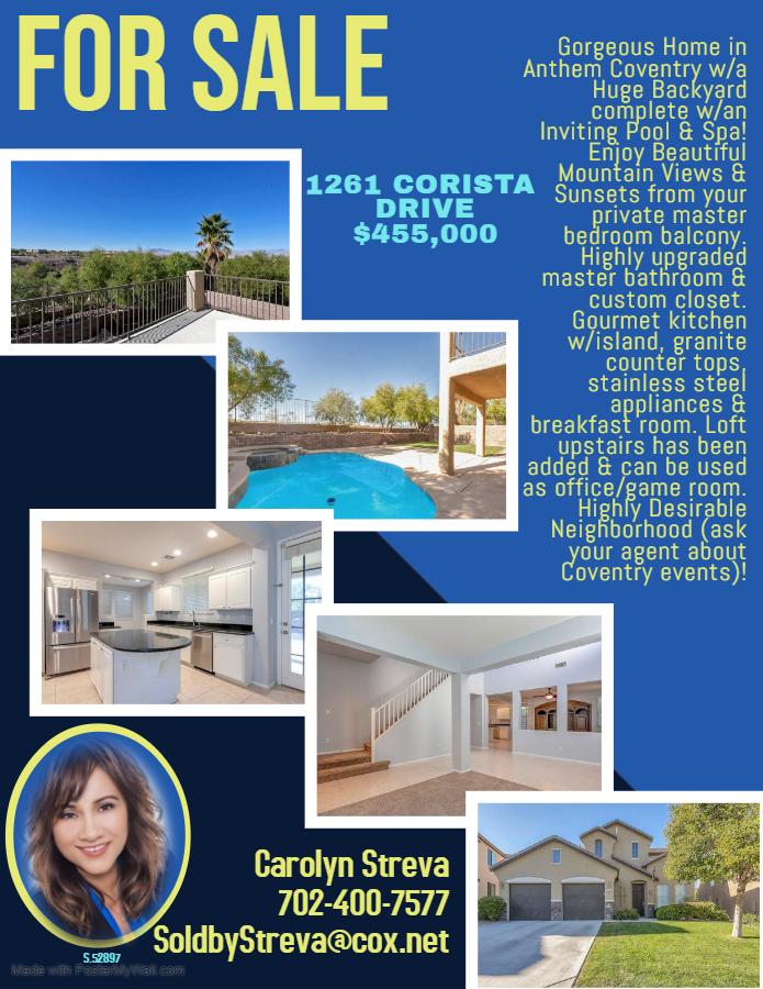 1261 Corista Drive $455,000